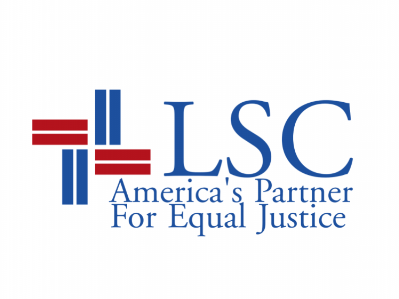 "Legal Services Corporation Logo containing slogan ""America's Partner for Equal Justice"""